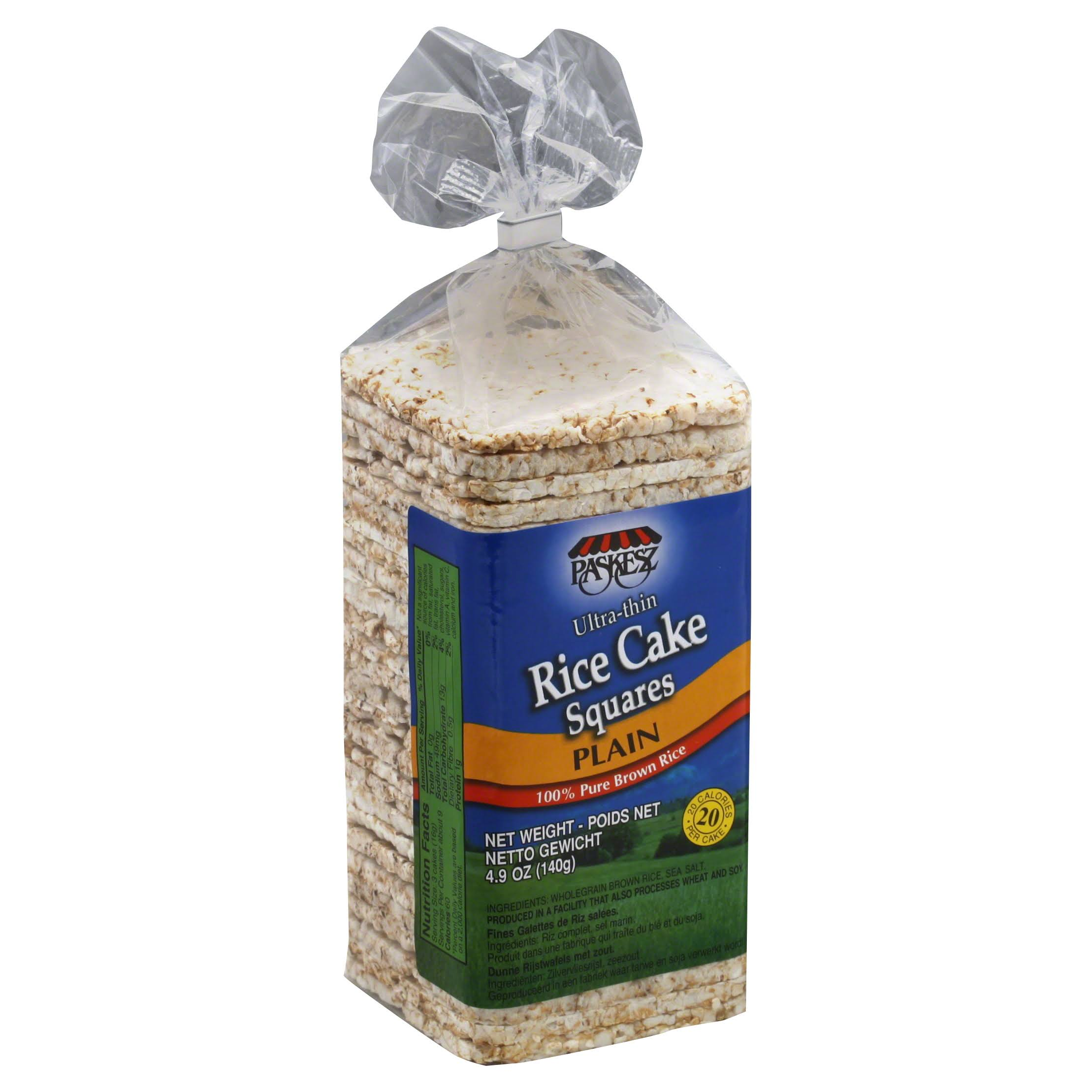 Paskesz Rice Cake Thin Square Plain - 4.9oz
