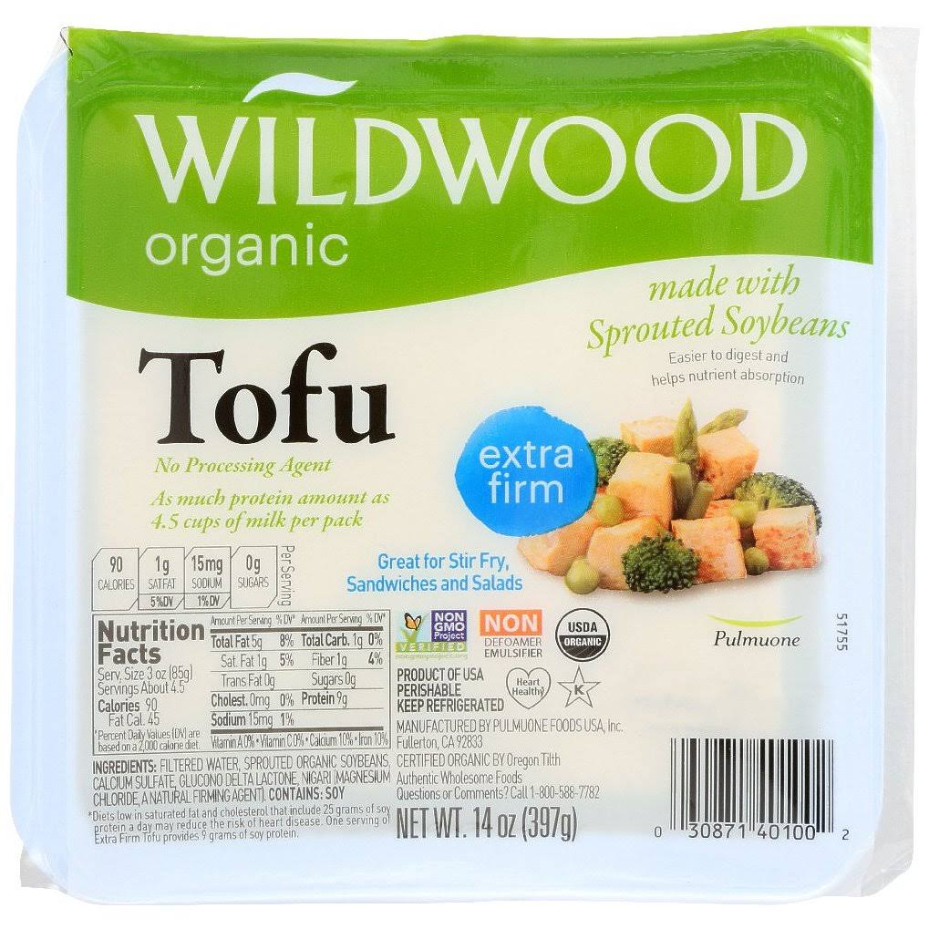 Wildwood Organic Tofu, Sprouted, Extra Firm - 14 oz