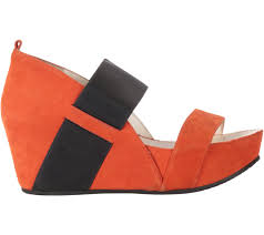 staccato orange suede wedges