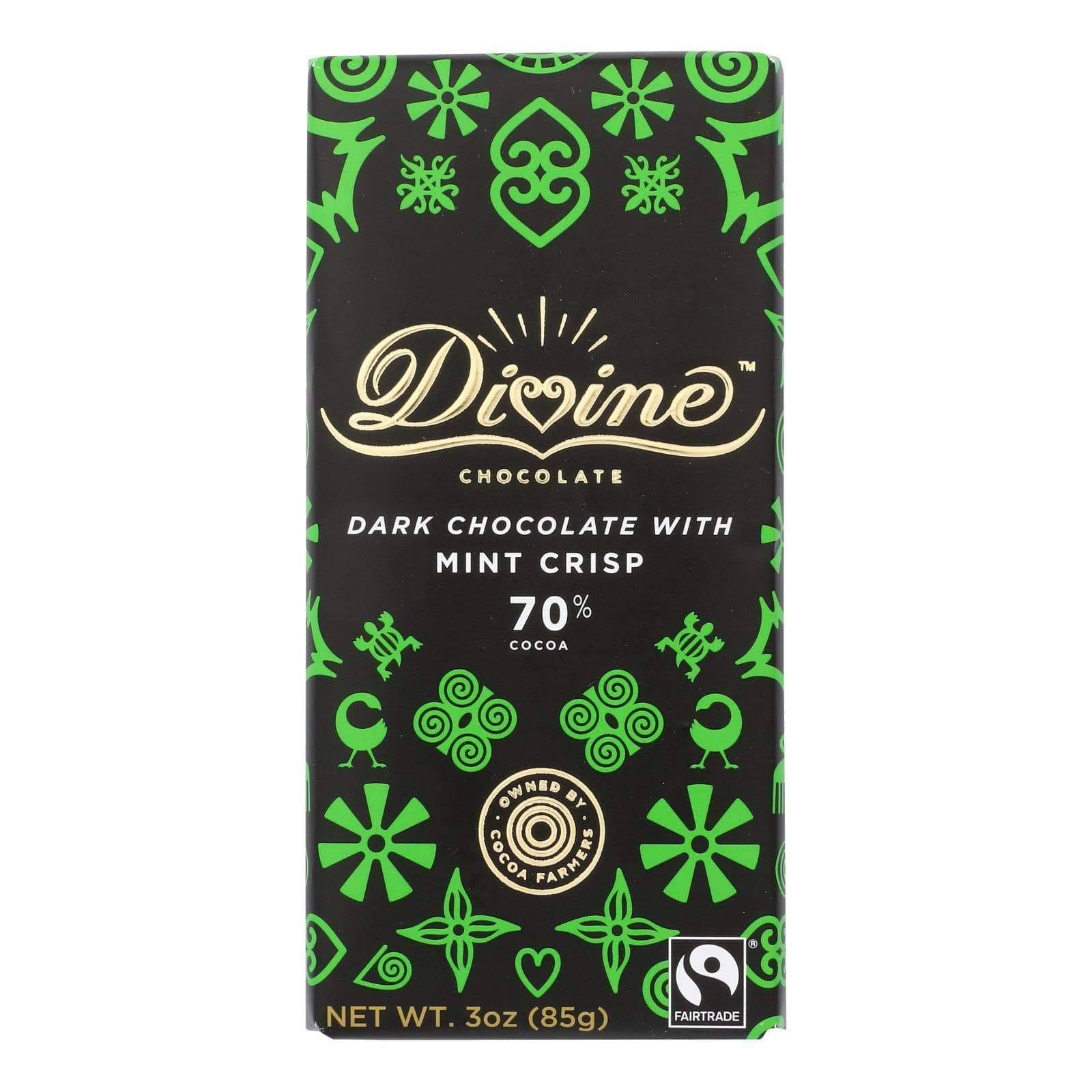 Divine 70% Dark Chocolate with Mint Crisp (3 oz. Bar)