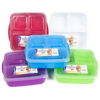 Regent Products 3 Compartment Square 4 Asst Colors Food Storage