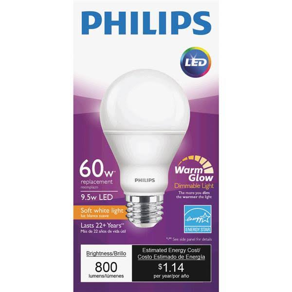 Philips Light Bulb, LED, Soft White Light, 9.5 Watts