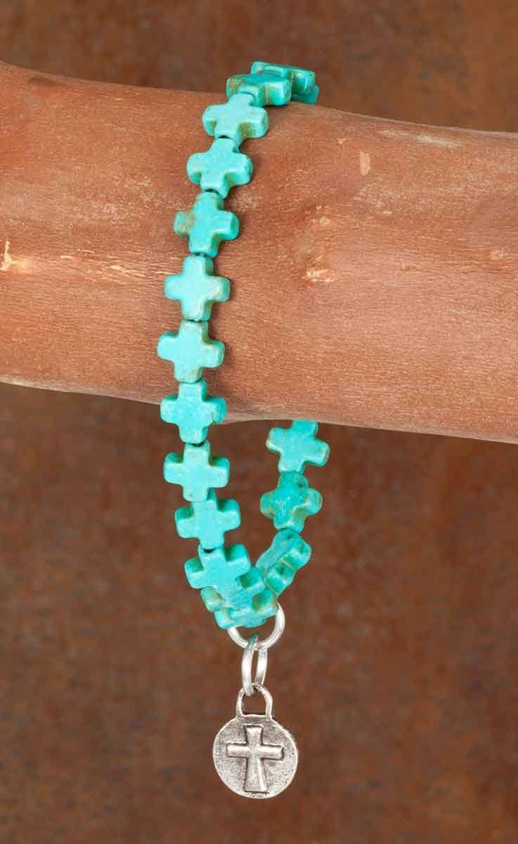 West and Co. Turquoise Cross Stretch Bracelet (S)