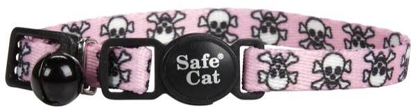 Li'l Pals Adjustable Breakaway Kitten Collar, Pink Skulls