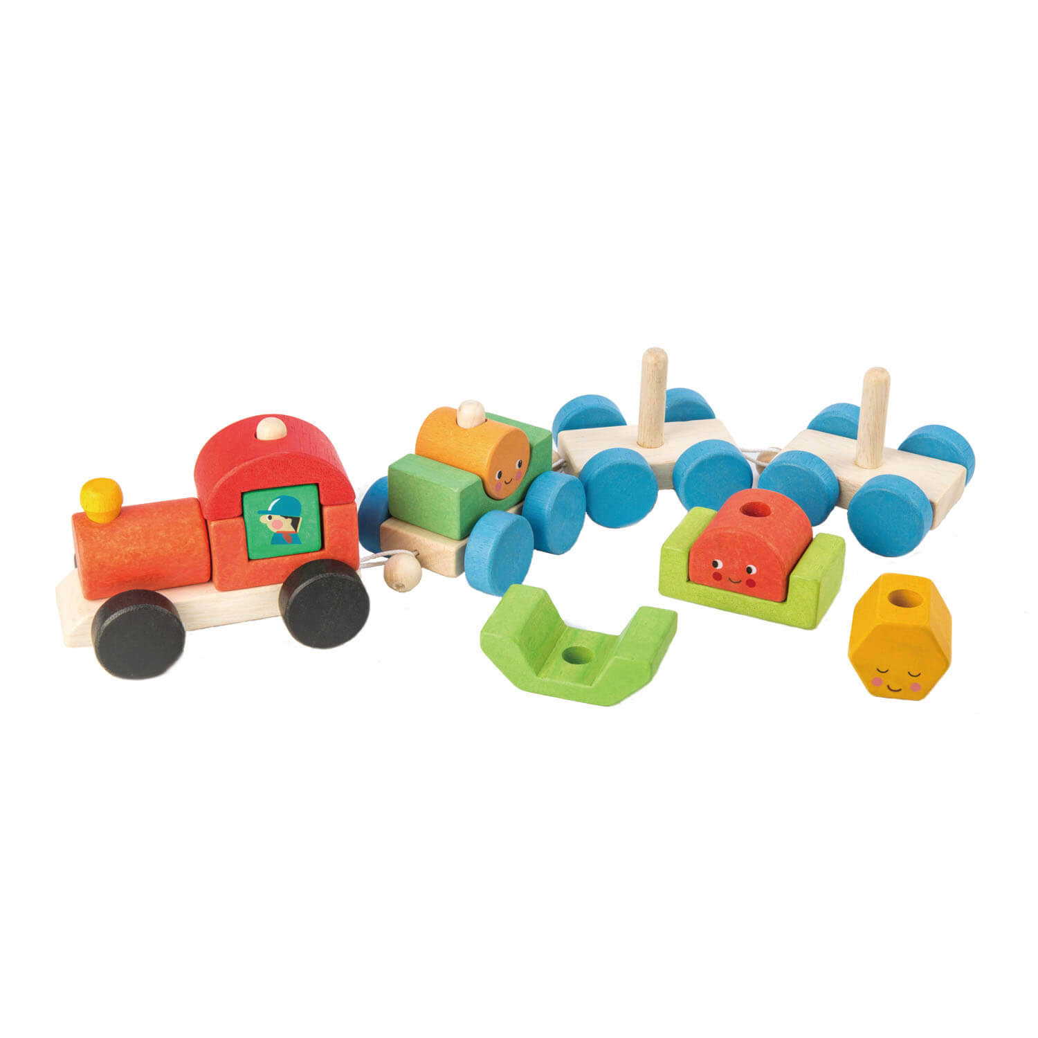 Tender Leaf Toys TL8337 Happy Train - Pull Along Sorting & Stacking Wooden Train