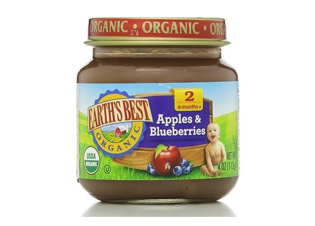 Earth's Best Organic Baby Food - Apples & Blueberries, 113g, 6 Months