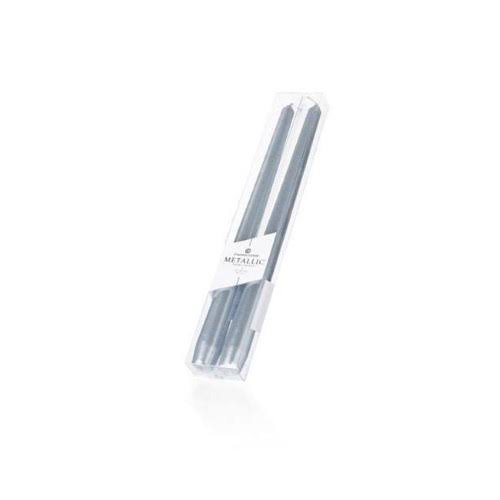 Colonial Candle Handipt Taper, Silver Metallic, 12 inch, 2pk