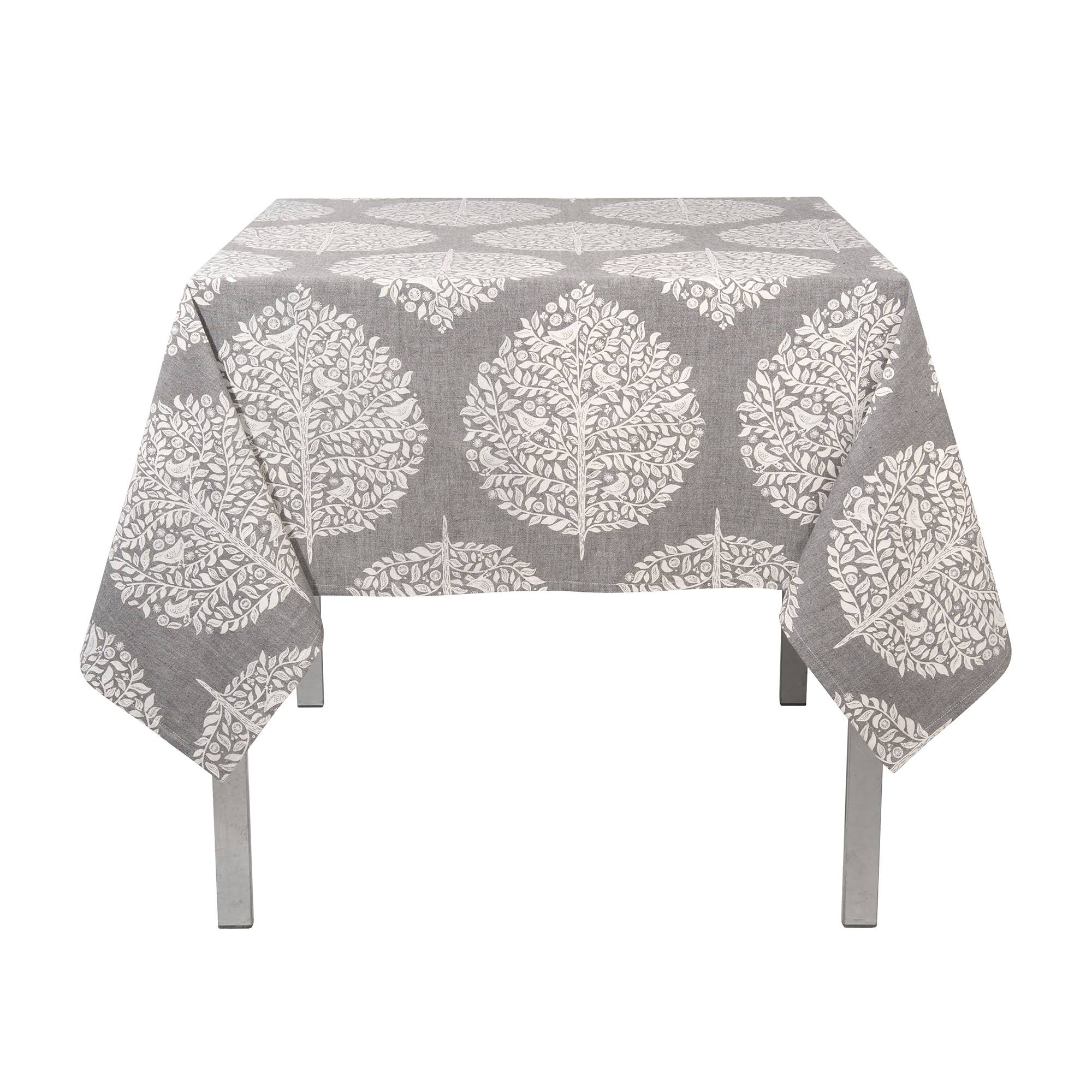 Now Designs Cotton Tablecloth - Elmwood Grey, 60in x 120in