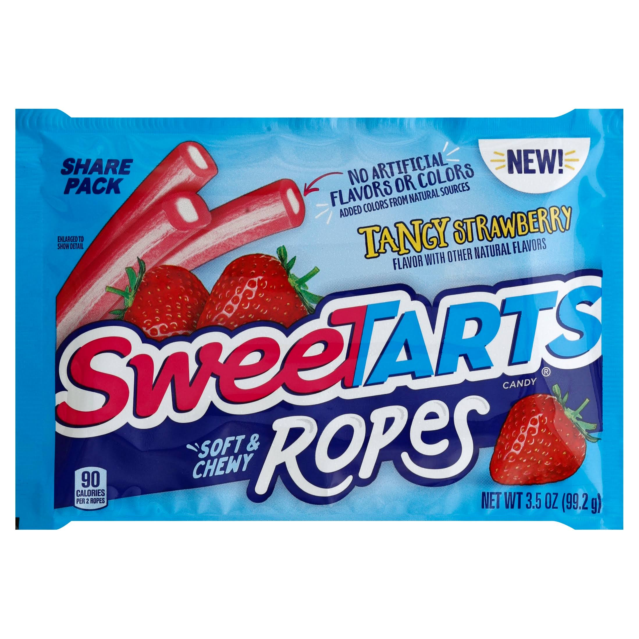 Sweetarts Candy, Soft & Chewy Ropes, Tangy Strawberry, Share Pack - 3.5 oz
