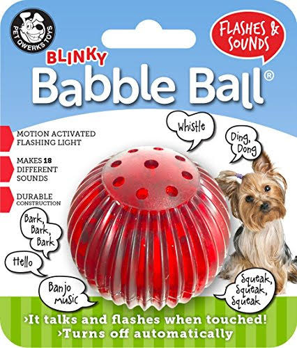 Pet Qwerks Small Blinkey Babble Ball Dog Toy - Small
