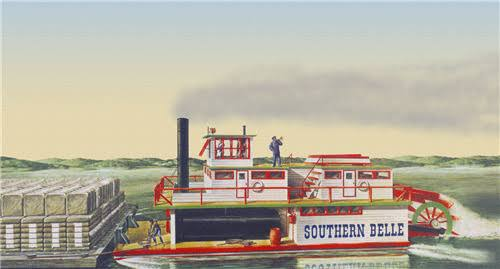 Lindberg Hl201 Southern Bell Paddle Wheel Steamship - 1/64 Scale