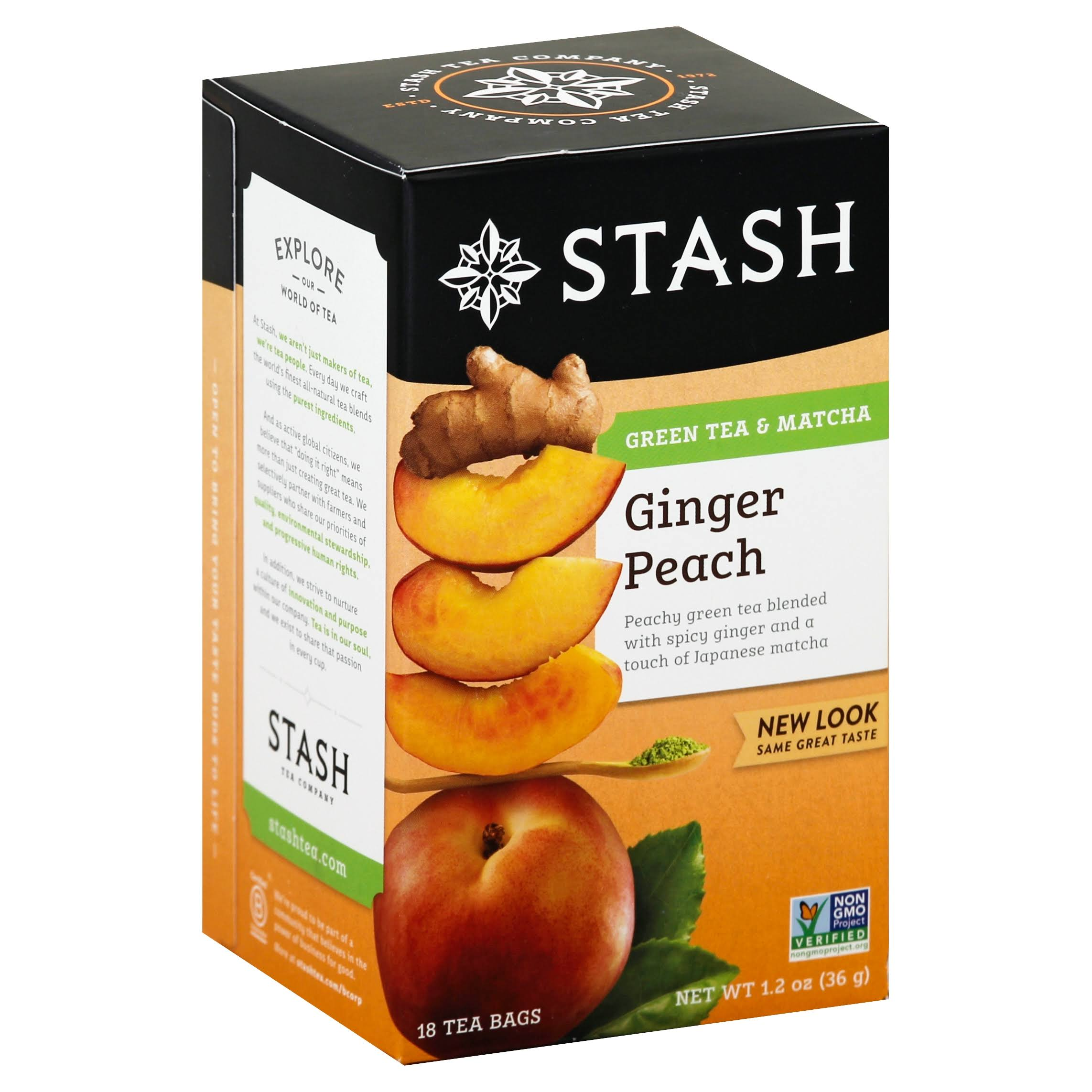 Stash Ginger Peach with Matcha Green Tea Tea Bags - 18 x 1.2 oz Pack