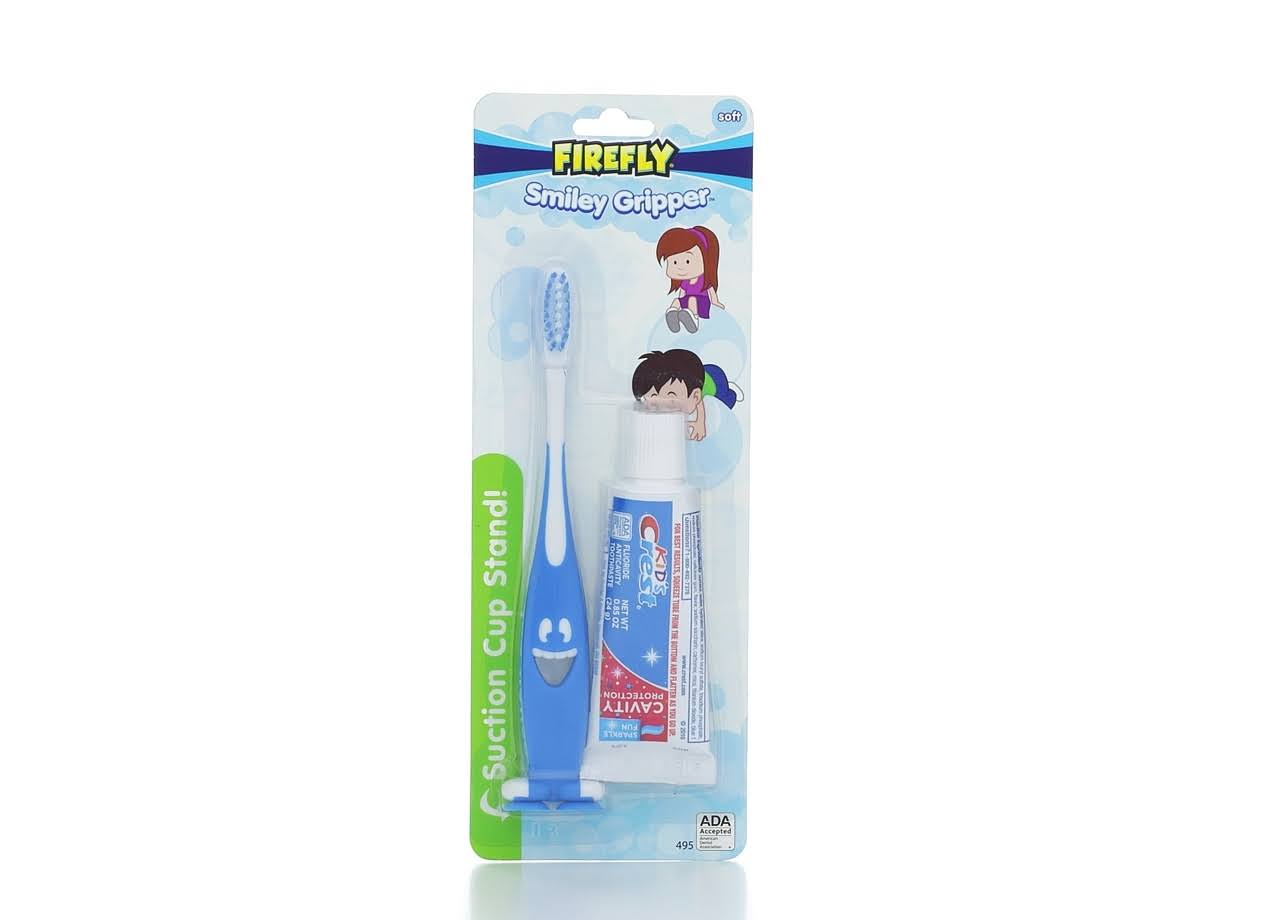 Dr. Fresh Smiley Gripper Toothbrush with Kid's Crest Toothpaste