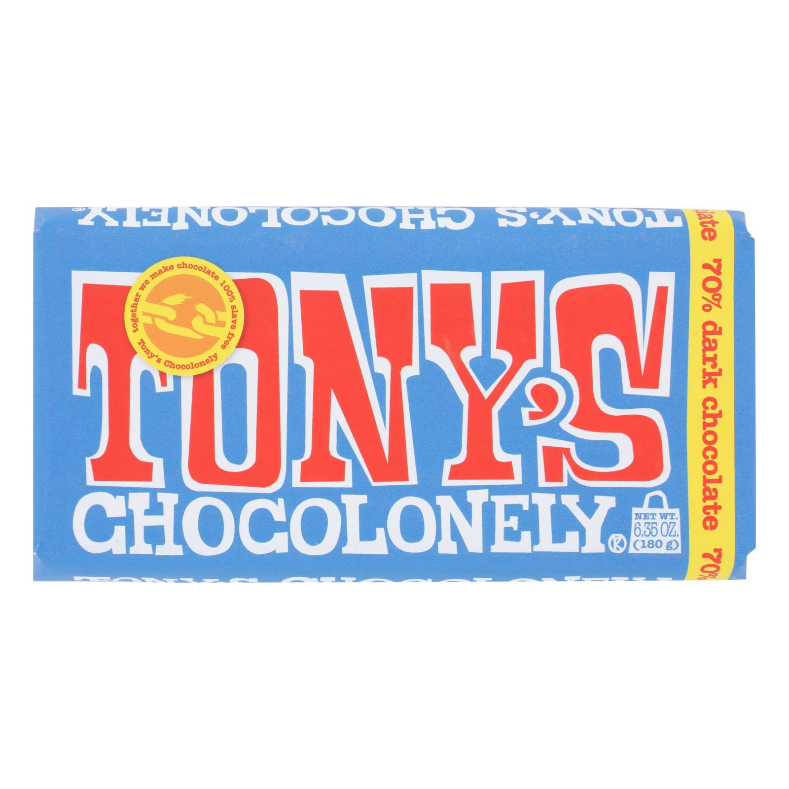 Tonys Chocolonely Dark Chocolate, 70% Cocoa - 6.35 oz