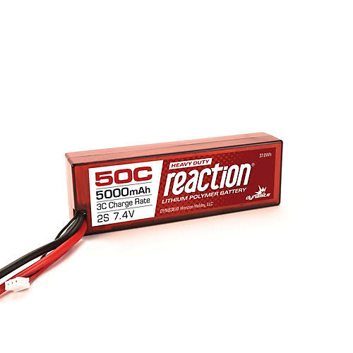 Dynamite B3810EC Reaction HD 7.4V 5000mAh 2S 50C LiPo Hard