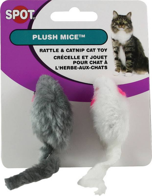 Spot Rattle & Catnip Cat Toy - Plush Mice, x2