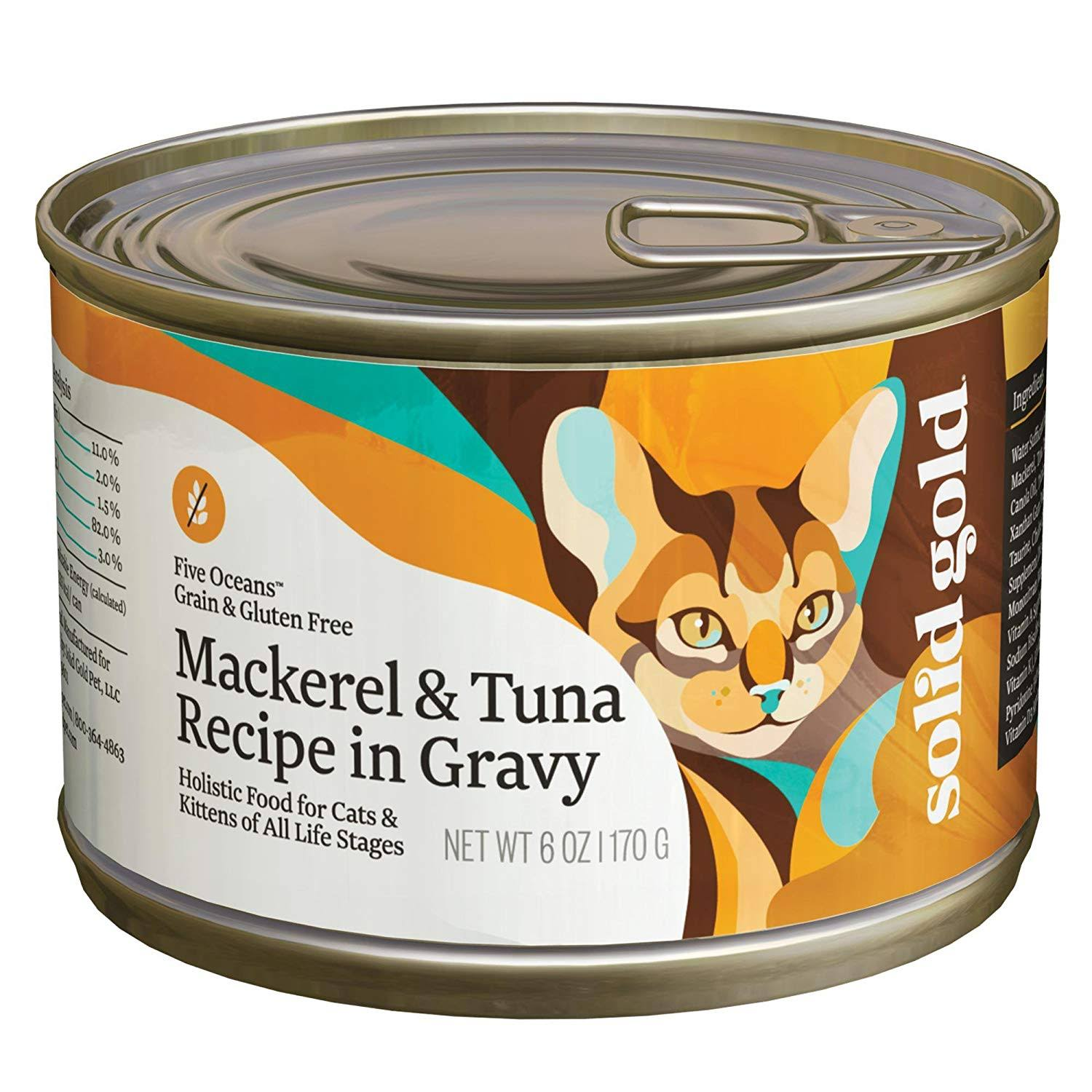 Solid Gold Five Oceans Holistic Wet Cat Food - Mackerel & Tuna Recipe, 6oz