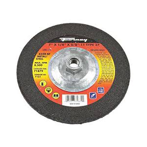 "Forney Welding Grinding Wheel - With 5/8"" 11 Threaded Arbor, Type 27, A24R, 7""x1/4"""