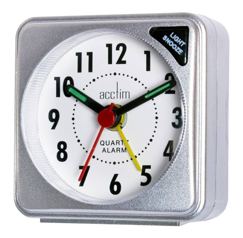 Acctim Ingot Mini Travel Alarm Clock - Silver