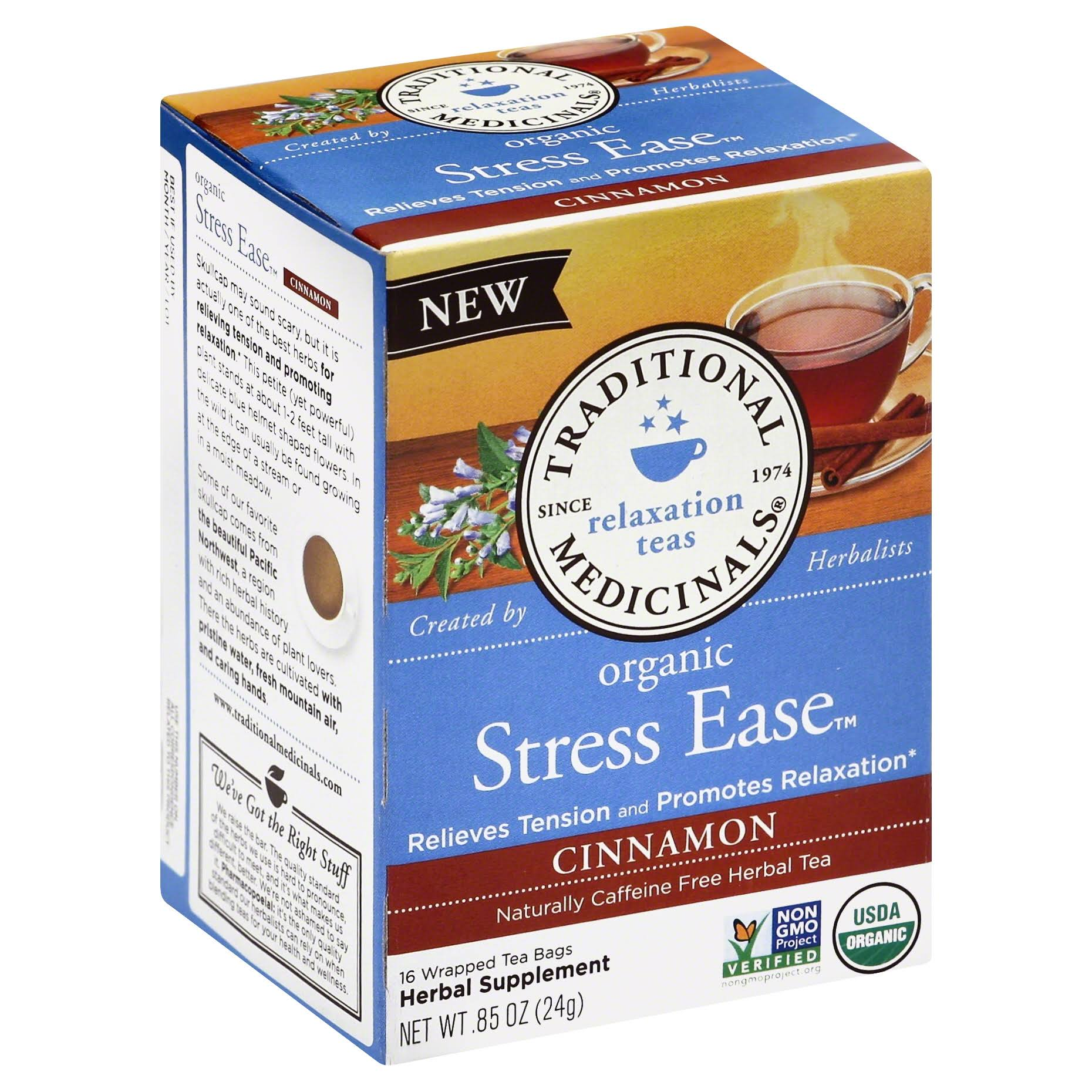 Traditional Medicinals Stress Ease Organic Cinnamon Herbal Tea Bags - 16ct, 0.85oz
