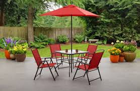 Walmart Patio Umbrella Table by Mainstays 6 Piece Folding Patio Dining Set Only 97 11 At Walmart