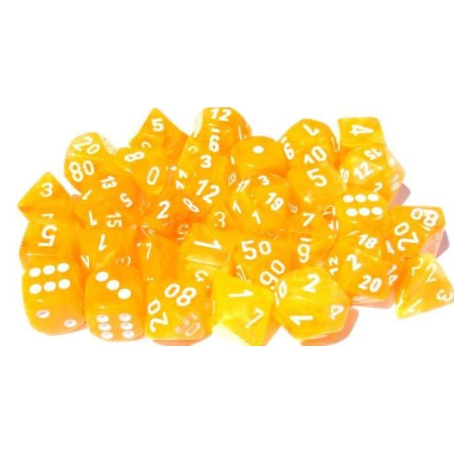 Chessex Polyhedral Dice Set: Lab - Luminary Festive Flare/White (7)