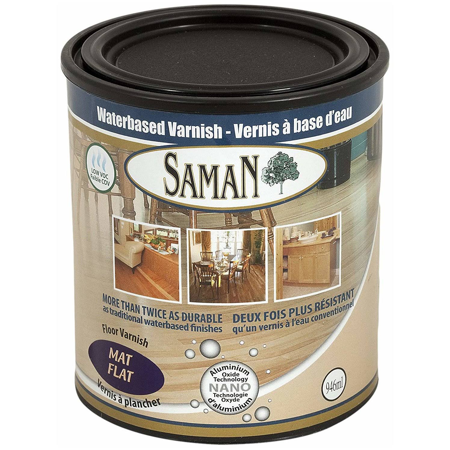 SamaN Interior Water Based Flat Varnish with Aluminum Oxide - 1qt