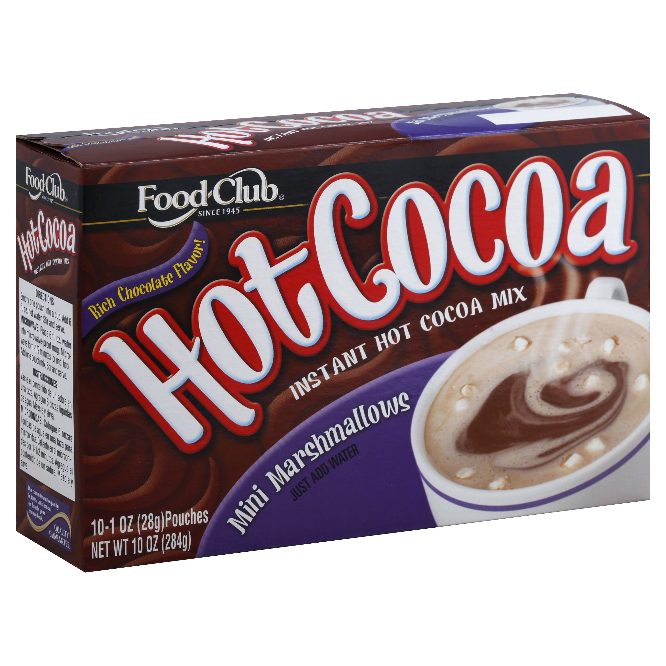 Food Club Hot Cocoa Mix, Instant, Mini Marshmallows - 10 pack, 1 oz pouches