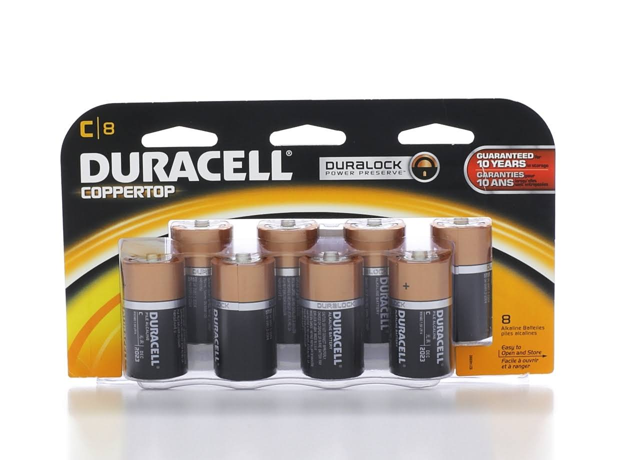 Duracell Coppertop C Batteries - 8 Batteries