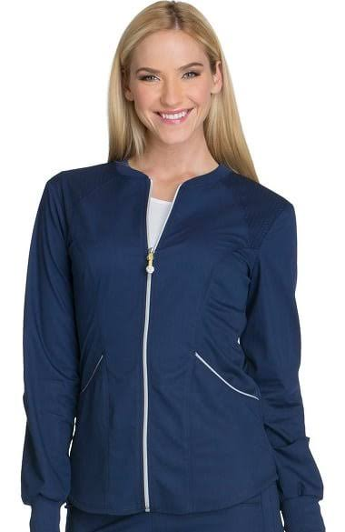 Cherokee Women's Luxe Sport Zip Front Warm-Up Jacket, Navy, S