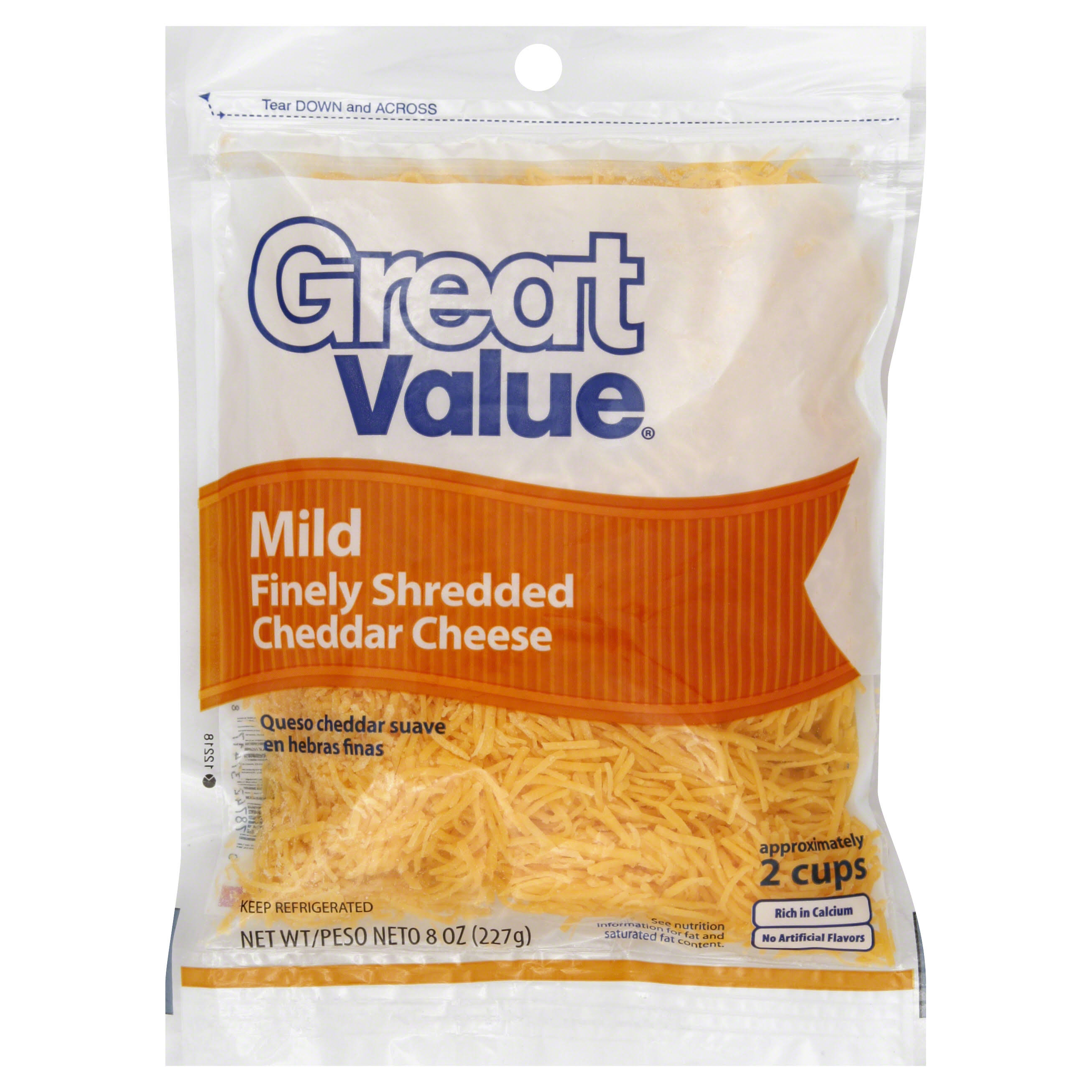 Great Value Cheese, Finely Shredded, Mild, Cheddar - 8 oz