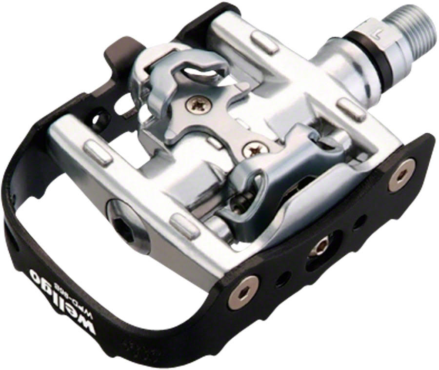 Wellgo WPD-95B Clipless Clip Pedals - Black and Silver