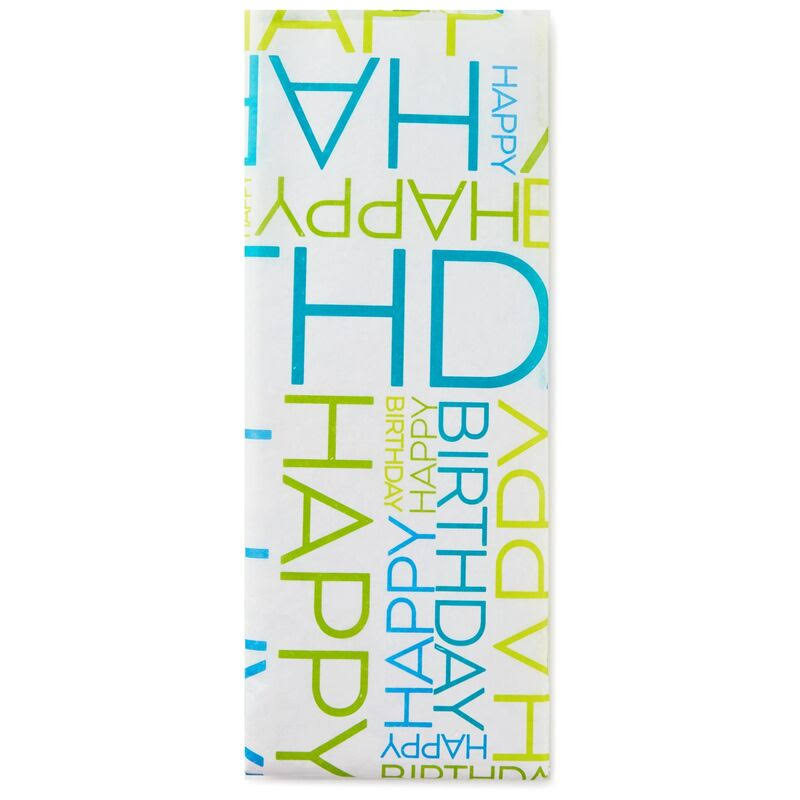 Hallmark Blue and Green Happy Birthday Tissue Paper, 6 Sheets