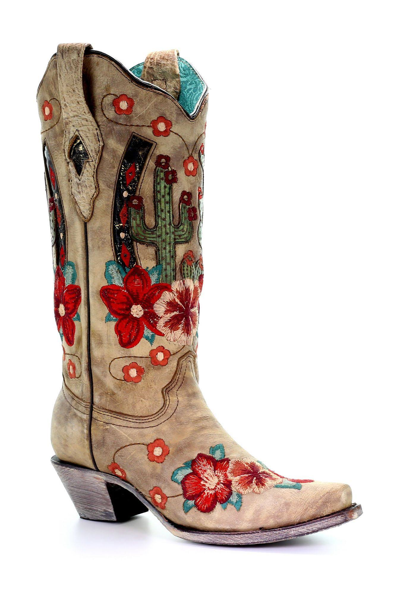 Corral Women's Cactus Inlay Western Boots - Snip Toe
