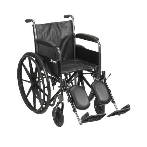 McKesson Drive Wheelchair - Standard Fixed Arms, Black, 18""