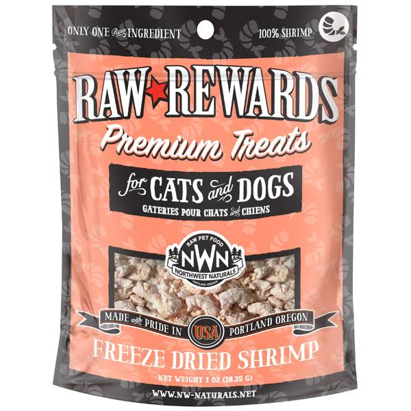 Northwest Naturals Freeze Dried Shrimp Dog Cat Treats, 1 oz