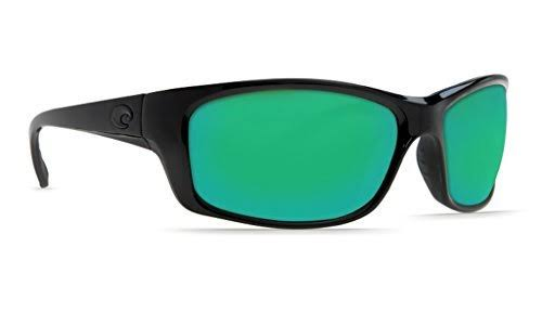 Costa Del Mar JO01OGMGLP Jose Blackout Rectangular Sunglasses - Black Frame, Green Lens