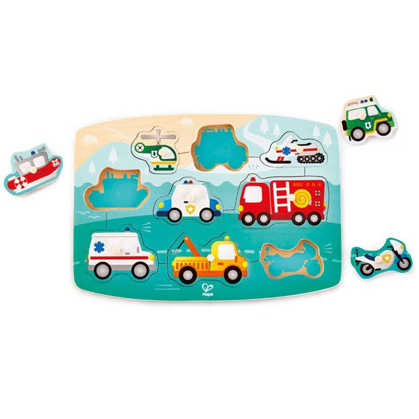 Hape Emergency Vehicles Peg Puzzle E1406