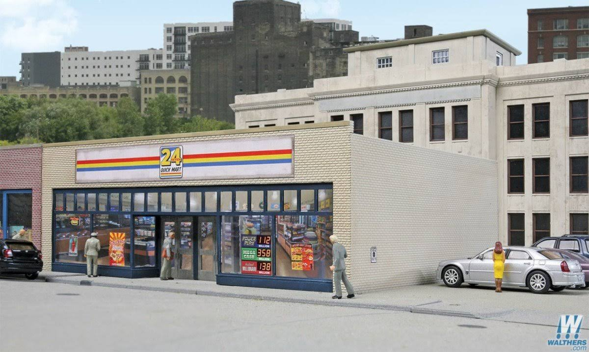 Walthers Cornerstone 24-seven Quick Mart Building Structure Model Kit - Ho Scale