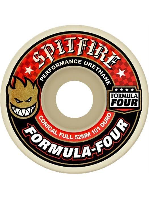 Spitfire F4 Conical Full Wheel Set - White/Red, 54mm