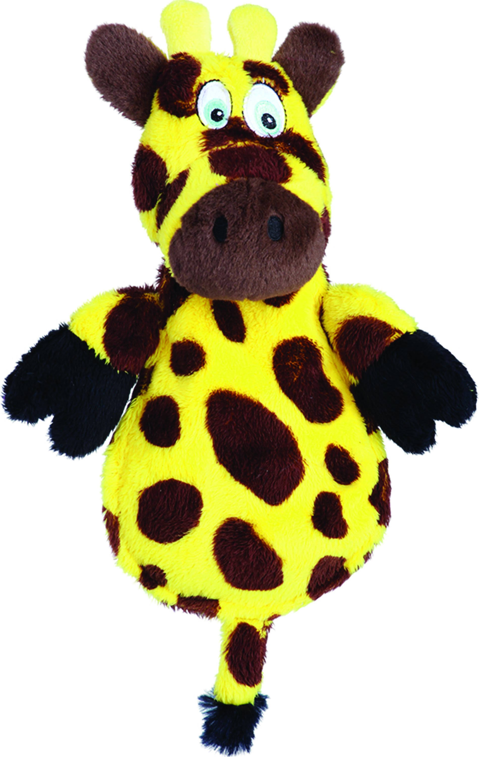 Hear Doggy Chew Guard Flats Dog Toy - Giraffe, Yellow and Brown, Ultrasonic Silent Squeaker