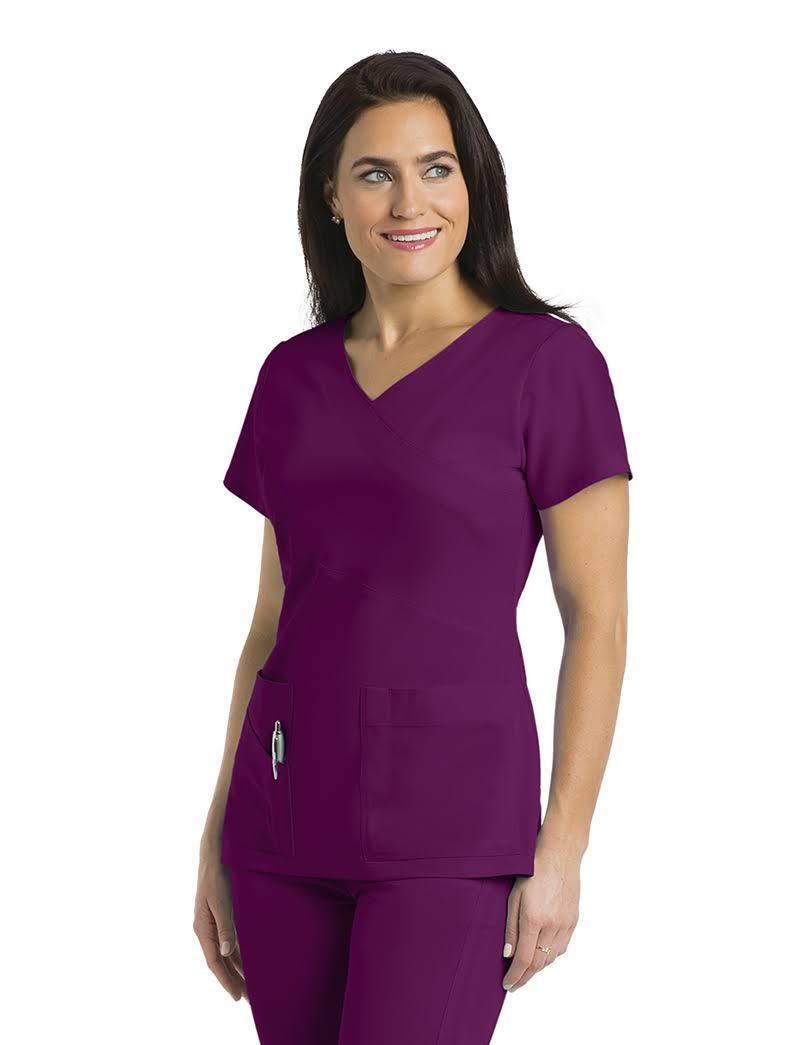 Grey's Anatomy Signature Women's 3 Pocket Mock Wrap Scrub Top