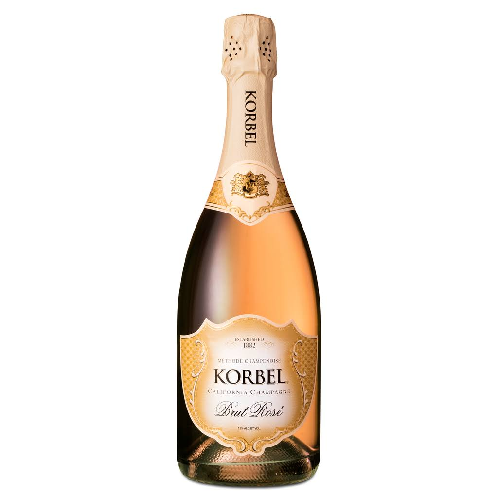Korbel Brut Rose Champagne, California Champagne - 750 ml