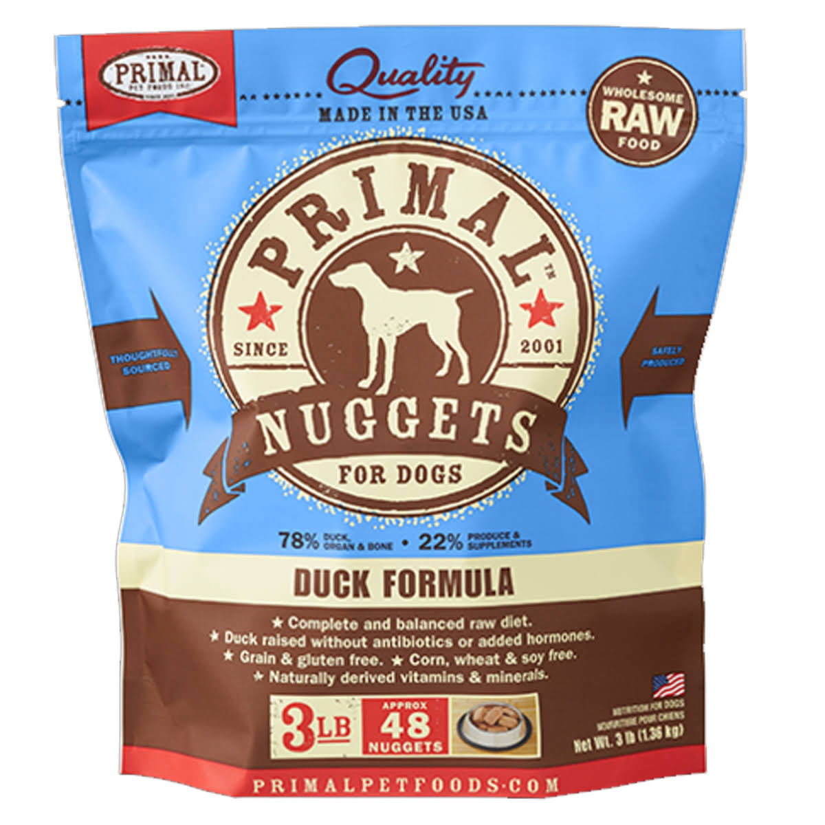 Primal Duck Canine Food - 48 oz bag