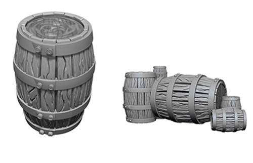 Wizkids Deep Cuts Unpainted Miniatures - Barrel and Pile of Barrels