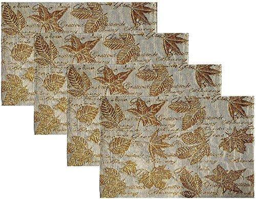 Nidico Fall Decorations - Gold Autumn Leaves Placemats - Set of 4