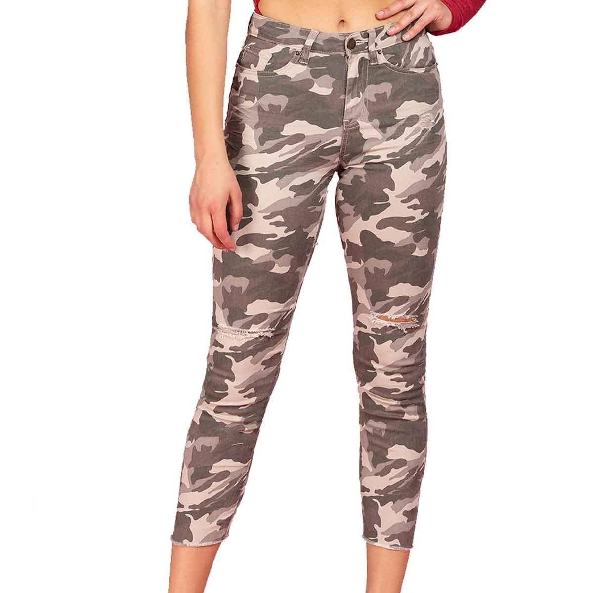 YMI Juniors Mid Rise Camo Ankle Jeans Green 9