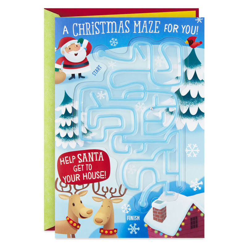 Santa Surprises Christmas Card with Maze
