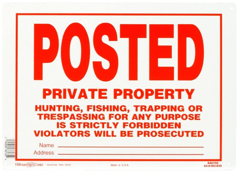 The Hillman Group Aluminum-Posted No Trespassing Sign, 10 in. x 14 in.