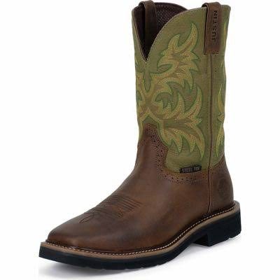 Justin Men's Stampede Driller Brown Work Boots - Steel Toe